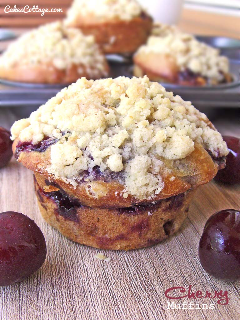 Cherry Muffins with Streusel Topping
