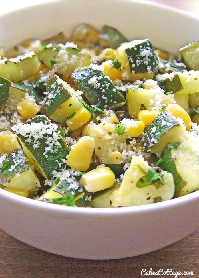 Parmesan Zucchini with Corn & Cilantro