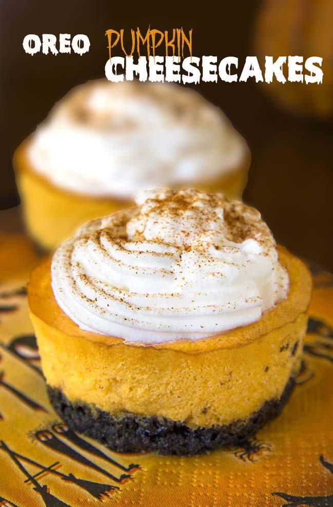 Oreo Pumpkin Mini Cheesecakes