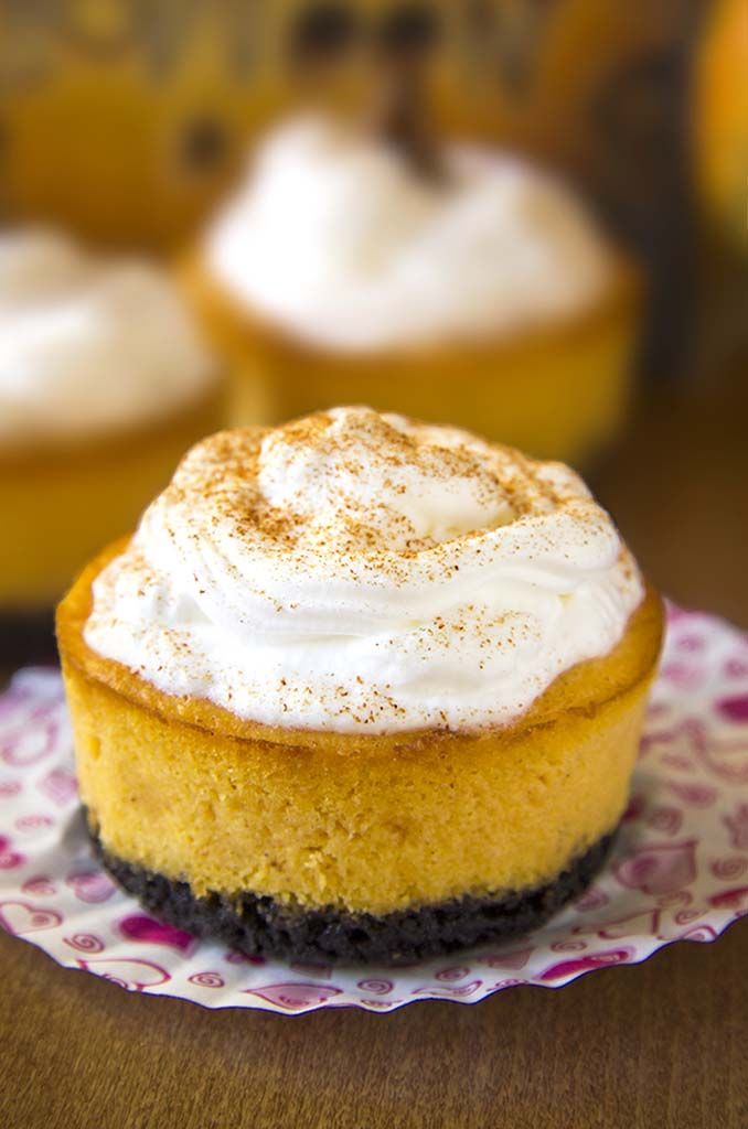 Oreo Pumpkin Mini Cheesecakes