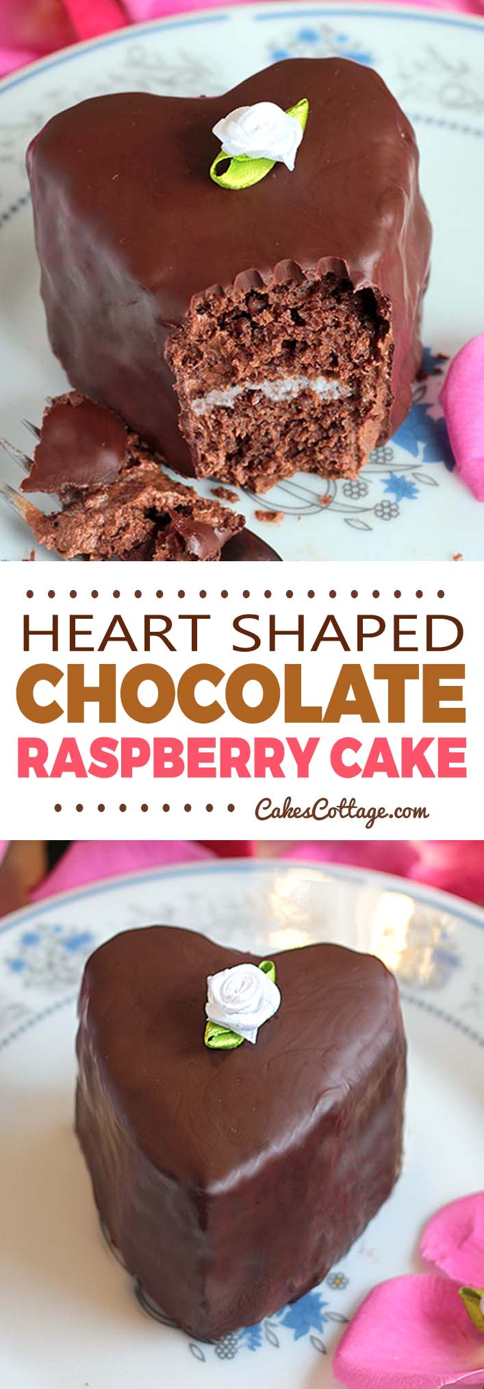 Heart Shaped Chocolate Cakes with a tender raspberry cream are the perfect dessert for Valentine's Day or date night! #chocolate #valentine #raspberry