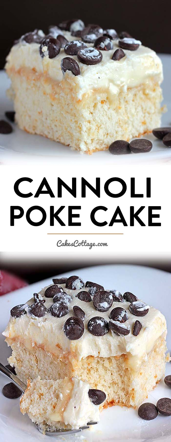 Poke Cake topped with an Ah-Mazing cannoli filling. #pokecake #cannoli