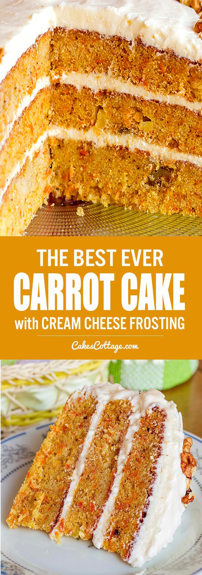 Our family favorite carrot cake recipe, with walnuts, pineapple, and a cream cheese frosting.