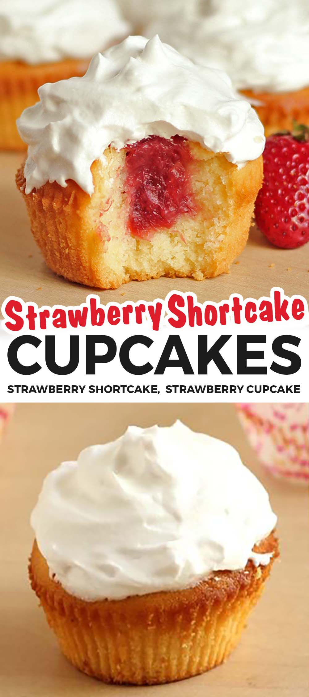 These strawberry shortcake cupcakes are fluffy, moist and very-vanilla with pockets of strawberry jam inside each bite