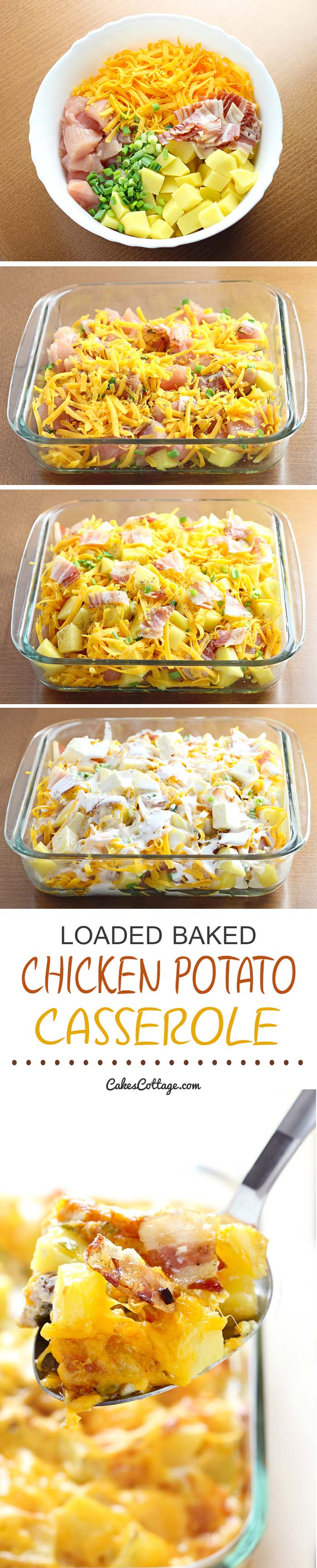 Try out this Loaded Baked Chicken Potato Casserole. Quick and easy, feeds the whole family!