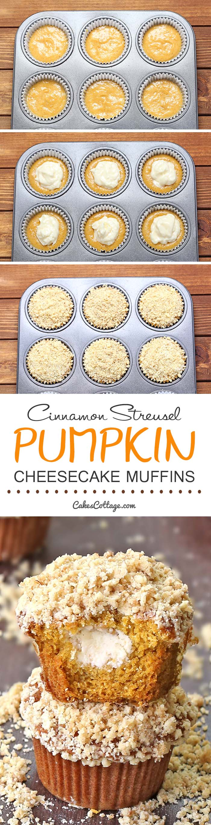 Delicious pumpkin muffins filled with cream cheese and topped with a cinnamon streusel.