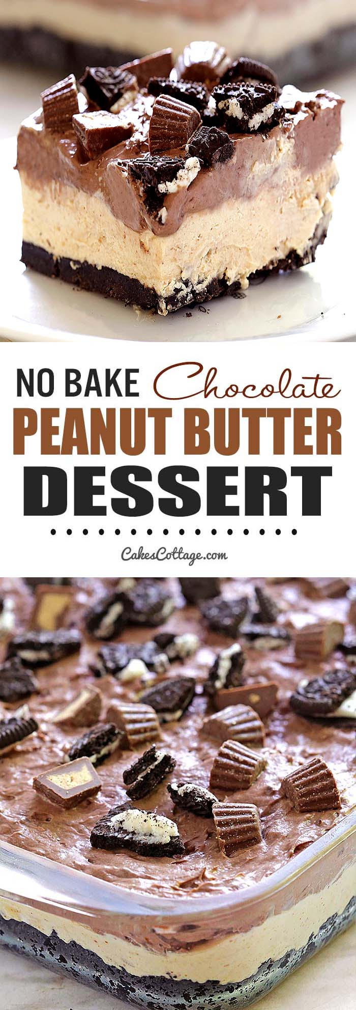 No Bake Chocolate Peanut Butter Dessert | Cakescottage