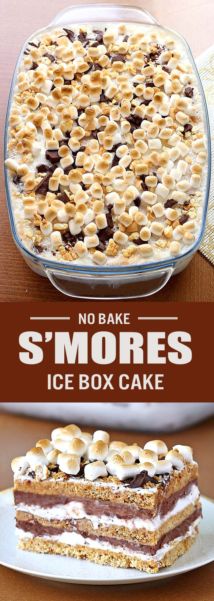All the flavors of real s'mores are incorporated into one amazing cake! S'mores Icebox Cake with layers of decadent chocolate ganache, marshmallow creme  and cake-like graham crackers.