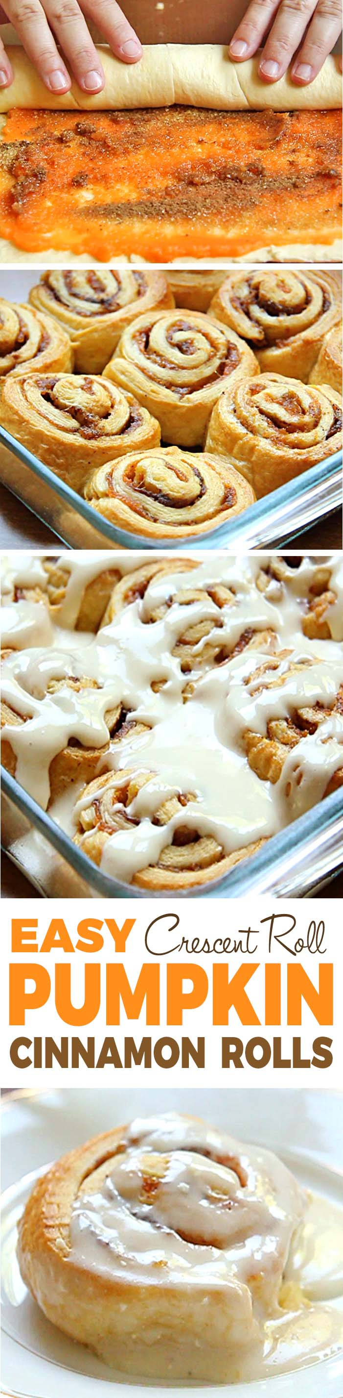 Skip the yeast, and dough....try Easy Pumpkin Cinnamon Rolls made with crescent roll dough and topped with a homemade cream cheese frosting. The perfect fall breakfast!