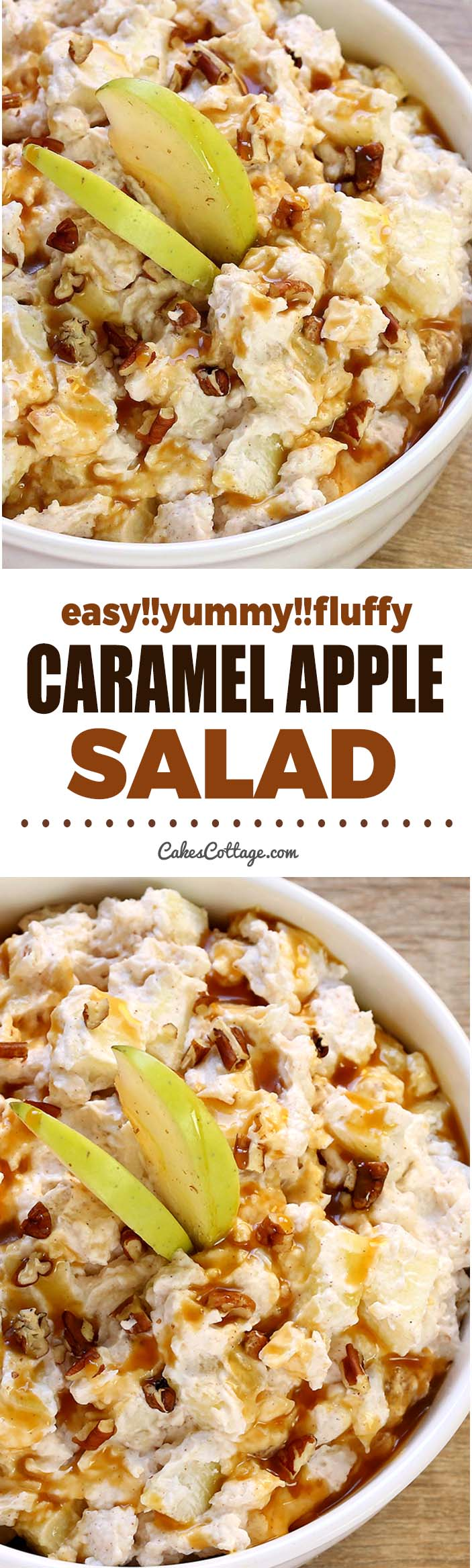 Caramel Apple Salad is a super simple, delicious fall salad! It only take a few ingredients and couple minutes to whip up, and is always a hit at parties.