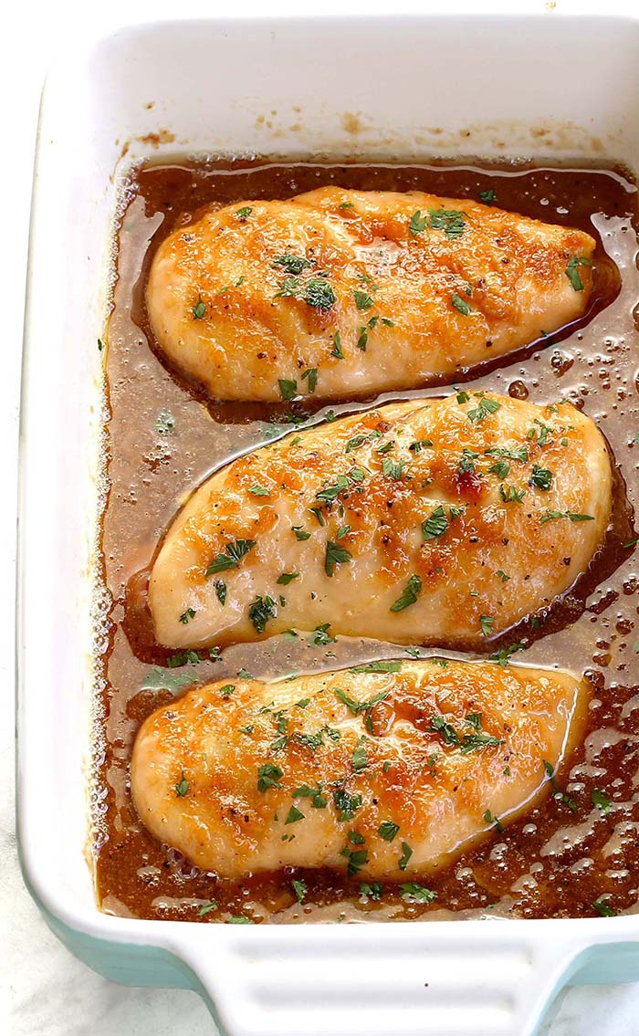 Quick and easy baked chicken breasts recipe made with a bit of butter, some brown sugar, and garlic. But don't let the simplicity fool you. It's also outrageously delicious!