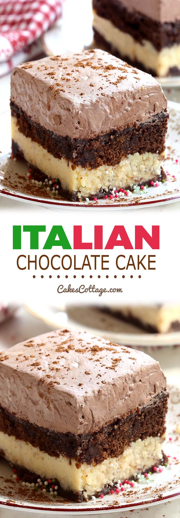 A combination of chocolate marble cake and cheesecake with a creamy chocolate topping, this Italian Chocolate Cake is an absolute must try.