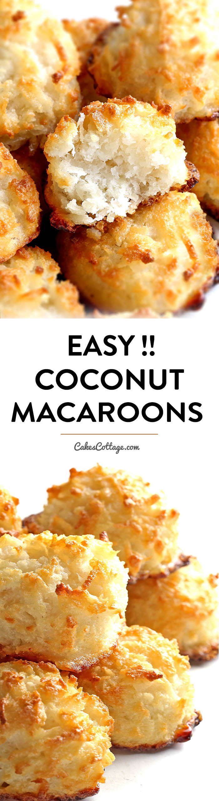 "Light and chewy 3-ingredient Coconut Macaroons are the easiest cookies of all time. Dipping them in chocolate is ""optional"" but really, why wouldn't you?"