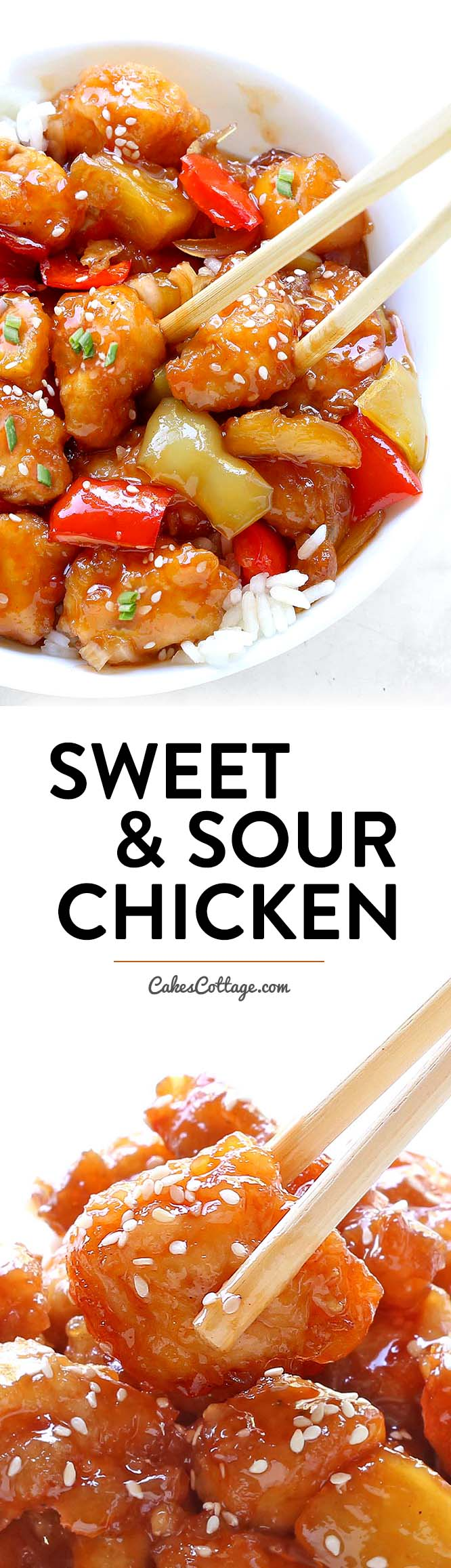 A Sweet and Sour Chicken recipe you can easily make right at home! And yes, it tastes a million times better (and healthier) than take-out!