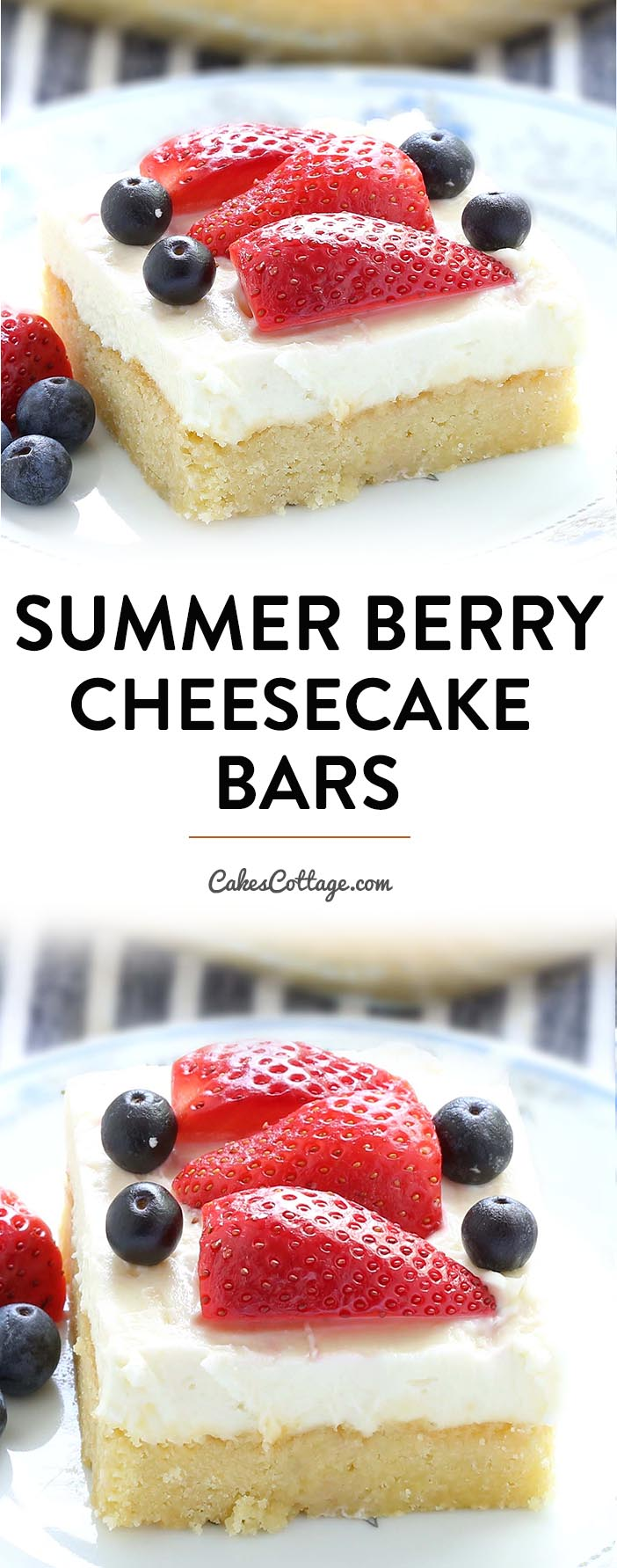 These summer berry cheesecake bars will be the hit at your next summer picnic! Quick to make buttery crust, topped with luscious cheesecake layer and piled high with fresh berries.