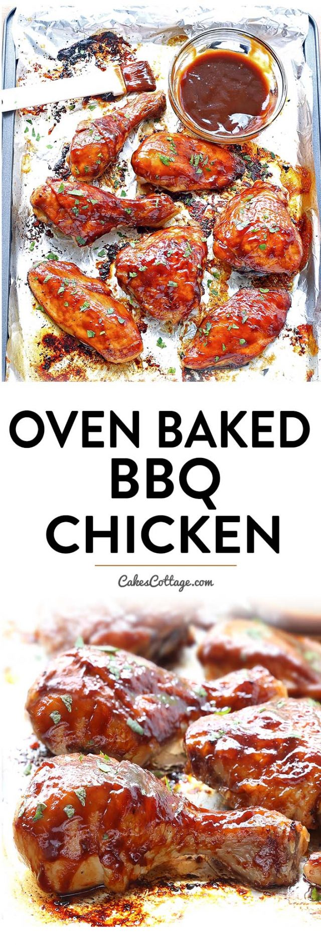 This is one of the juiciest oven baked BBQ chicken you'll ever taste.