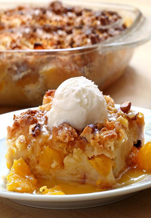 Easy Peach Bread Pudding is a summer dessert that's bursting with peach flavor!