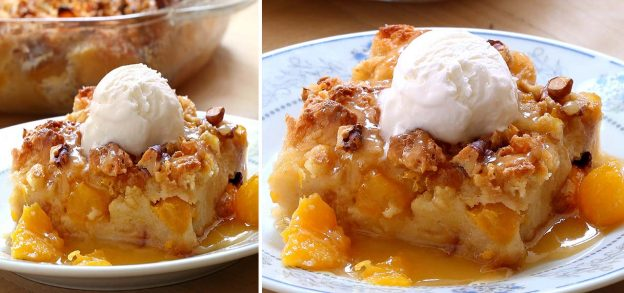 Easy Peach Bread Pudding