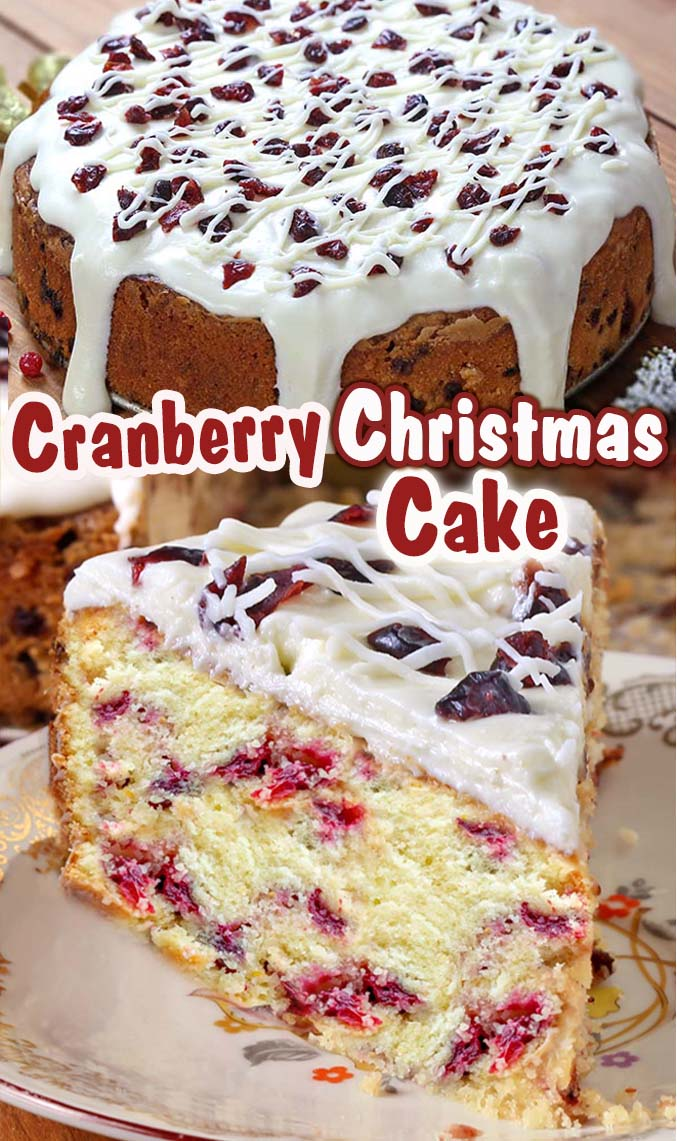 This is the perfect Cranberry Christmas Cake! All of the holiday flavors you love ! #christmas #cranberry #holiday