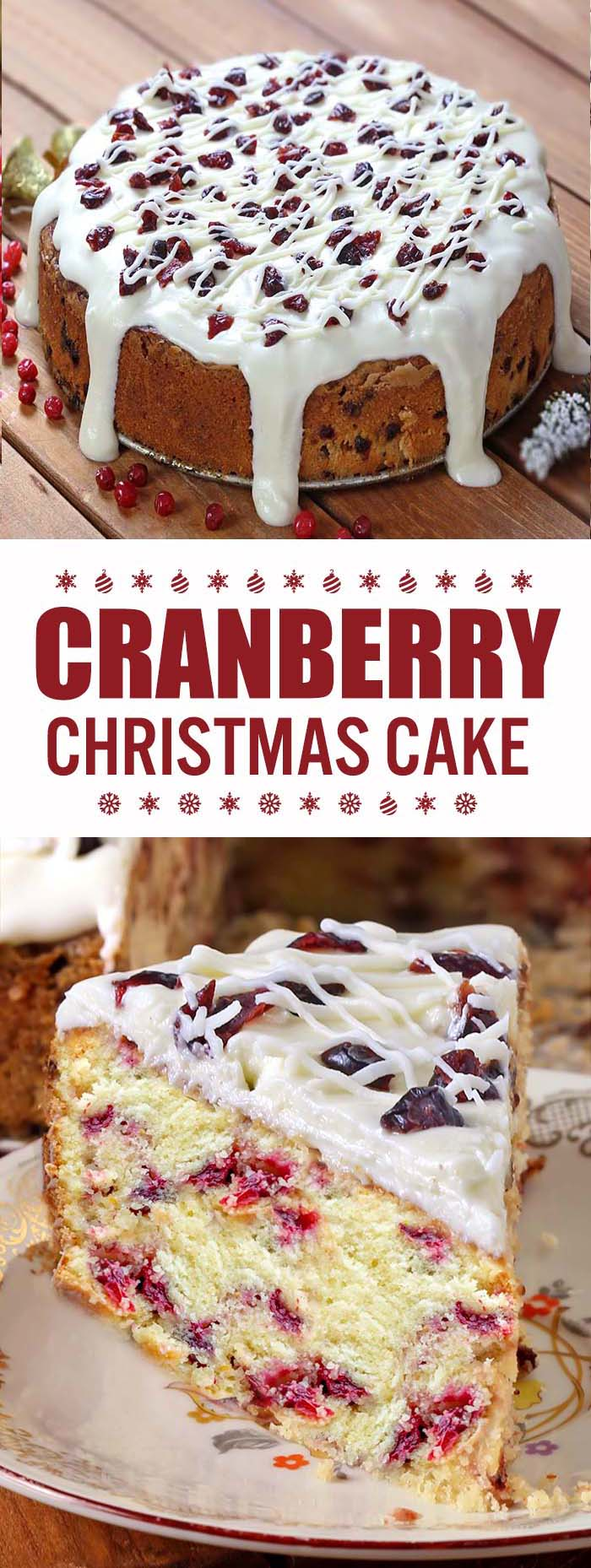 This is the perfect Cranberry Christmas Cake! All of the holiday flavors you love in the Starbucks' Cranberry Bliss Bars in the cake form.