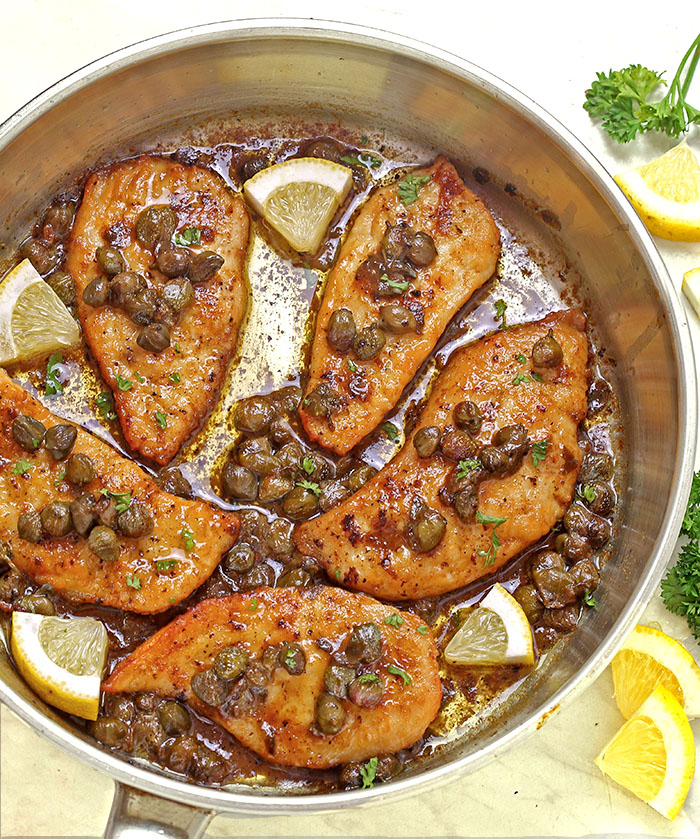 Tender, Buttery Melt in your mouth Easy Chicken Piccata! A few simple ingredients, 35 minutes, to make this delicious restaurant quality meal at home!