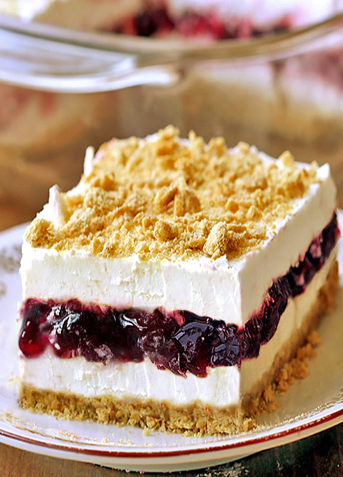 No Bake Blueberry Delight Cakescottage