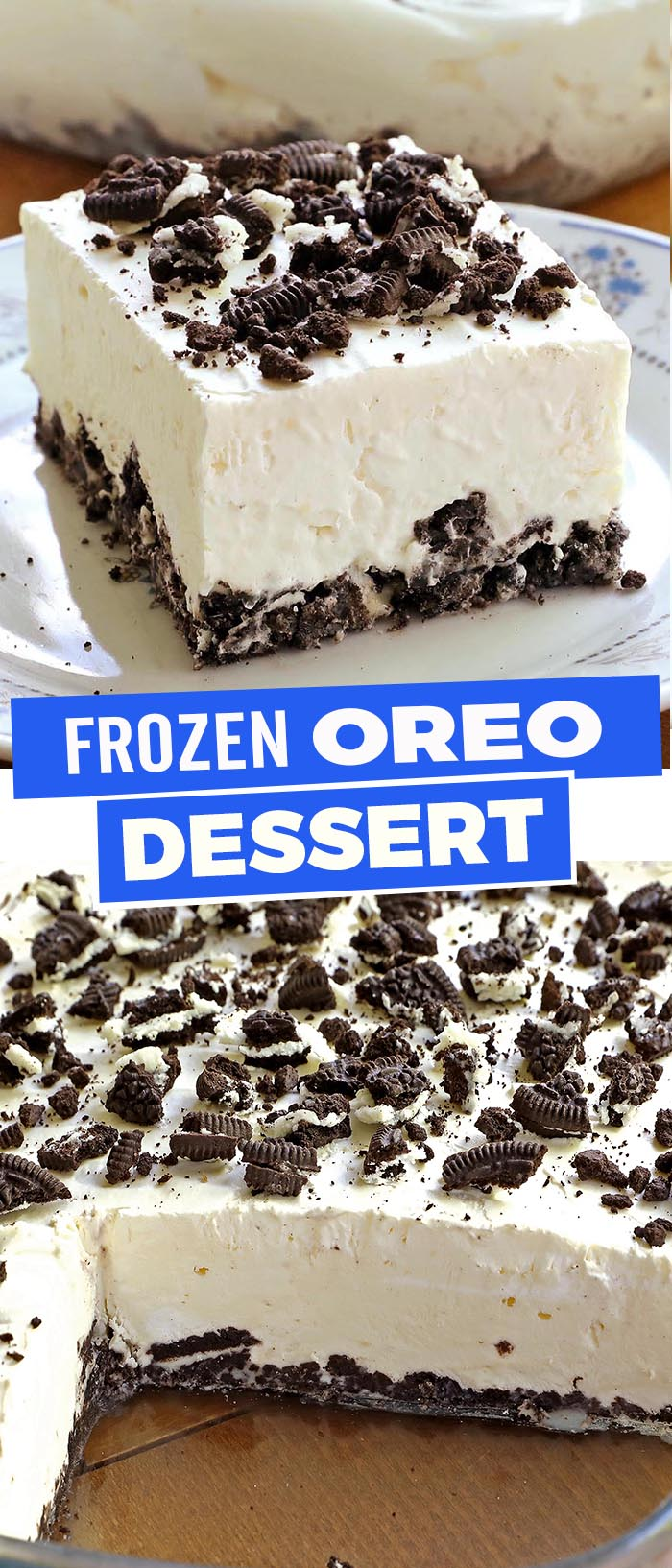 Light, Cool and Creamy Frozen Oreo Dessert is the ultimate oreo treat for any Oreo fan!
