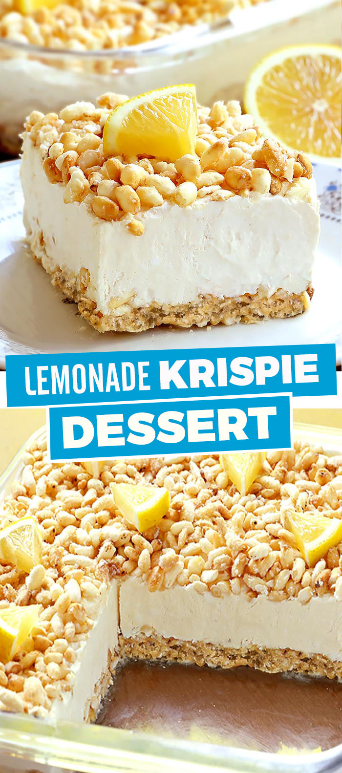 A rice krispie crust filled with creamy lemonade filling, this Lemonade Krispie Dessert recipe will be your favorite summertime treat.