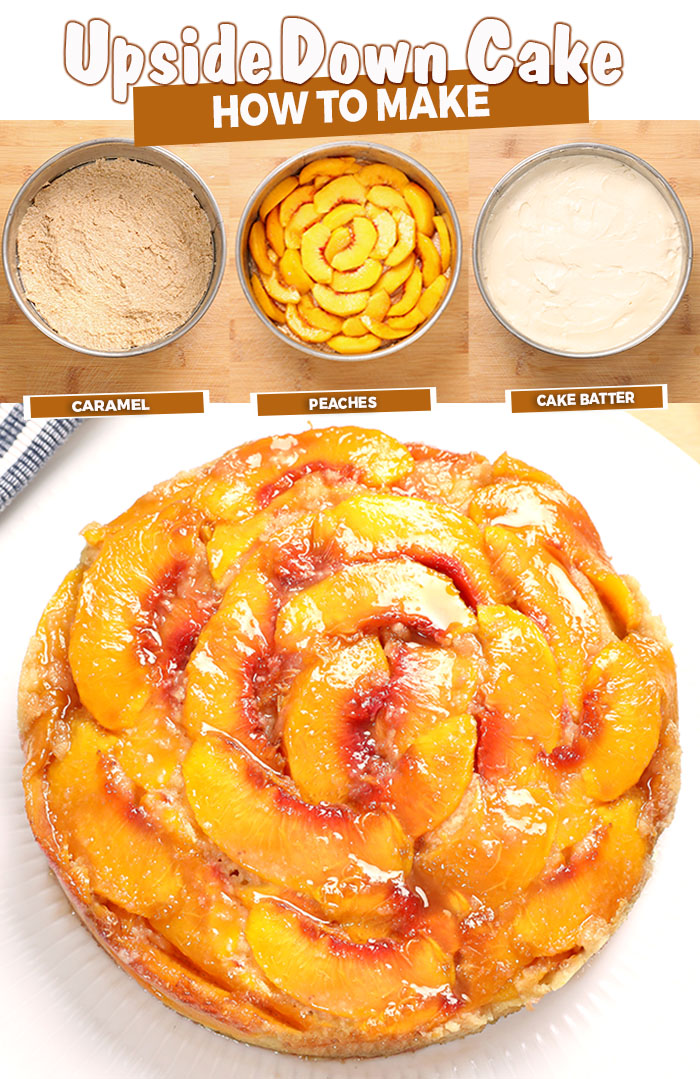 Caramel Peach Upside Down Cake, a deliciously moist cake made with fresh, canned or frozen Peaches. A little ice cream on top and it's perfect any time of year.