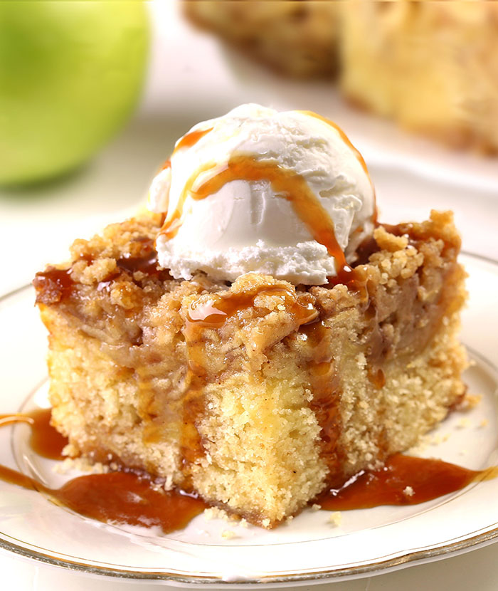 Pie or cake? Why choose? Apple Pie Cake tastes just like the apple pie you know and love. With fresh apples, soft cake, buttery topping and served with vanilla ice cream is over the top!