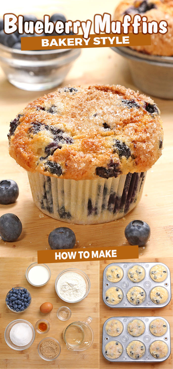 The best blueberry muffins recipe! Bursting with blueberries, moist and fluffy with amazing scent of almond and vanilla, covered with crunchy cinnamon sugar.