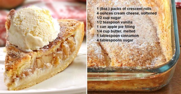 Apple Pie Cheesecake Dessert is quick and easy with minimal effort. It starts and ends with Crescent Rolls, with simplest apple pie and cheesecake filling. GOOD TIMES.